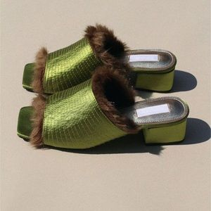 ISO green satin Suzanne Rae slides, 40 or 41